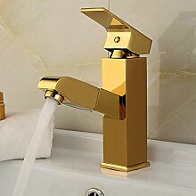 Kommerzielle Einhand-Waschtischarmatur Goldene