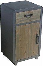 Kommode 1 Schublade 1 Tür Kolonial MDF Holz 62x36x30cm grau braun Kleinmöbel