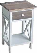 Kommode 1 Schubladen Vintage MDF Holz 55x35x29cm weiss braun Kleinmöbel