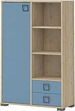 Kommode 26, Farbe: Buche / Blau - 134 x 86 x 37 cm