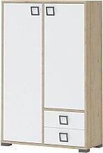 Kommode 27, Farbe: Buche / Weiß - 134 x 86 x 37