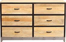 Kommode 6 Schubladen Holz und Metall INDUSTRIA