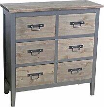 Kommode 6 Schubladen Kolonial MDF Holz 82x80x30cm grau braun Kleinmöbel