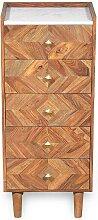 Kommode aus Sheesham Massivholz und Mamorplatte