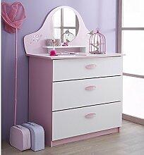 Kommode Ava rosa / weiß Holz Kommode Spielkommode Frisierkommode Schrank Kinderzimmer Jugendzimmer Mädchen Kinderzimmerkommode