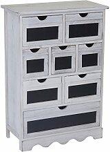 Kommode Ermelo, Schubladenschrank mit Tafel, Shabby-Look Vintage 87x60x30cm ~ weiß