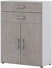 Kommode für Büro Beton Grau Weiß