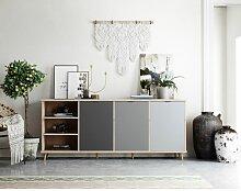 Kommode Grau Eiche Hirnholz Sideboard Modern