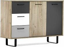 Kommode Grau Eiche Sideboard Modern Skandinavisch