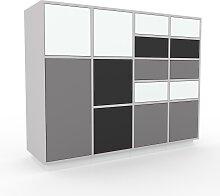 Kommode Grau - Lowboard: Schubladen in Weiß &