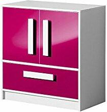 Kommode GULIVER Schrank Kinderzimmer Jugendzimmer Möbel (weiß / rosa hochglanz)