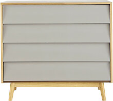 Kommode im Vintage-Stil mit 4 Schublade, grau Fjord