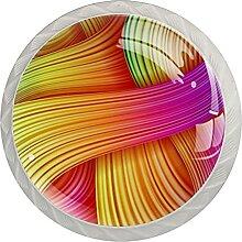 Kommode Kristallknöpfe Bunte Streifen 4Er-Pack