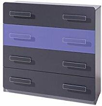 Kommode Lido K4SZ mit 4 schubladen, Highboard, Schrank Highboard Sideboard Möbel für Jugendzimmer Kinderzimmer, Schubladen kommode (Aschgrau / Grafit + Violett)
