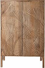 Kommode mit 2 Türen aus geschnitztem Mangoholz