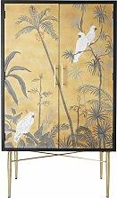 Kommode mit 2 Türen und gemaltem tropischem Motiv