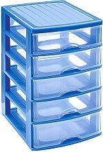 Kommode mit 5 Schubladen, Blau