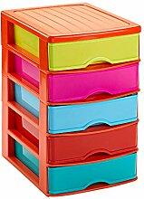 Kommode mit 5 Schubladen, mehrfarbig