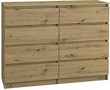Kommode mit 8 Schubladen 120cm Sideboard Artisan