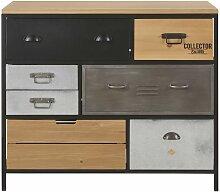 Kommode mit 8 Schubladen aus Metall und Tannenholz