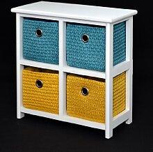 Kommode Nachttisch Schrank 42 cm Höhe Bad Regal Weiß mit 2 x 2 bunte Körbe für Kinderzimmer, Büro, Bad, Flur und Babyzimmer