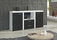 Kommode NINA Möbel Wohnzimmer modernes Design Matt Weiß Schwarz (Korpus: weiß / Front: schwarz)