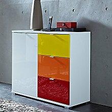 Kommode RAINYBOW131 Hochglanz weiß, gelb, orange, rot, 1 Tür, 3 Schubladen, Flur-kommode, Schubladen-Schrank