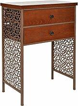 Kommode Schrank Regal Antik Vintage Industrie Design Holz mit Metall Nachttisch Beistelltisch Ablage Telefontisch Braun