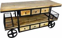 Kommode Schrank Sideboard mit Rädern Mango
