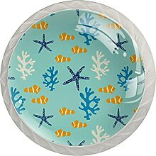 Kommode Schubladengriffe Fisch, Algen, Seesterne