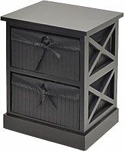 Kommode schwarz Beistelltisch Nachttisch 44 cm