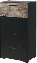 Kommode schwarz Vintage braun Anrichte Schlafzimmerschrank Schrank Sideboard