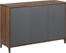 Kommode Sideboard dunkler Holzfarbton/grau