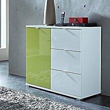 Kommode Sideboard in Hochglanz weiß grün mit 1
