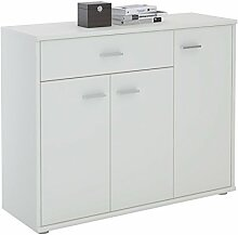 Kommode Sideboard Mehrzweckschrank ESTELLE, weiß mit 3 Türen und 1 Schublade, 88 cm brei