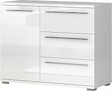 Kommode Siumu 12, Farbe: Weiß / Weiß Hochglanz -