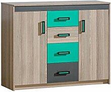 Kommode Ultimo U11 mit 4 Schubladen, Schrank für Jugendzimmer, Erhältlich in 3 Farben, Schubladen Kommode (Coimbra Esche / Anthrazit + Grün)