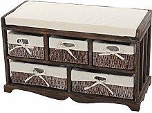 Kommode und Sitzbank mit 5 Schubladen, 77x45x36cm, Shabby-Look, Vintage ~ braun