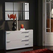 Kommode und Spiegel in Hochglanz Weiß Grau modern