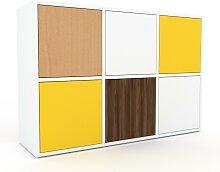 Kommode Weiß - Design-Lowboard: Türen in Gelb -