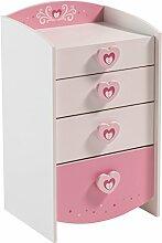 Kommode weiß / rosa Holz Kommode Spielkommode Schubladenkommode Schrank Kinderzimmer Jugendzimmer Mädchen Kinderzimmerkommode