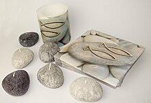 Kommunion Konfirmation Dekoration Set Servietten / Kerzen / Fische auf Steine