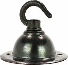 Kompakter Baldachin für Lampe, Deckenbaldachin aus Messing mit Haken, Bronze Antik - inkl. LS-Montageki