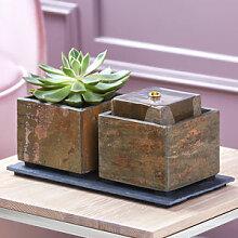 Kompakter Zimmerbrunnen mit Pflanztopf für ein