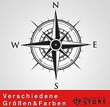 KOMPASS Aufkleber Wandtattoo Wandaufkleber Sticker (120 (B) x 120 (H) cm, Schwarz)