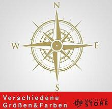 KOMPASS Aufkleber Wandtattoo Wandaufkleber Sticker (40 (B) x 40 (H) cm, Gold)