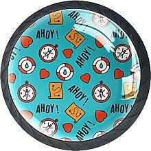 Kompass Blau, 4Pack ABS Kommode Knöpfe Schrank