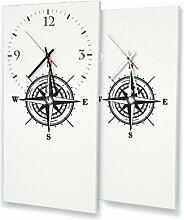 Kompass - Lautlose Wanduhr mit Fotodruck auf Leinwand Keilrahmen | geräuschlos kein Ticken Fotouhr Bilderuhr Motivuhr Küchenuhr modern hochwertig Quarz | Variante:30 cm x 60 cm mit weißen Zeigern - GERÄUSCHLOS