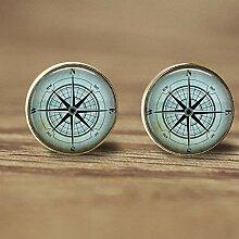 Kompass-Ohrstecker, Kunst-Kompass-Bild,