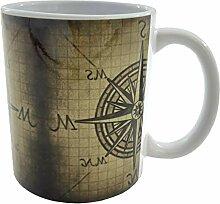 Kompass Rose Retro Vintage Kaffeebecher Keramik